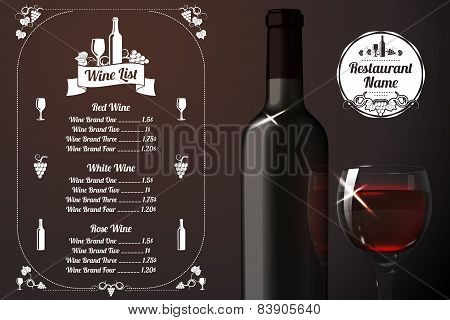 Menu template - for alcohol with realistic red bottle and glass. Vector