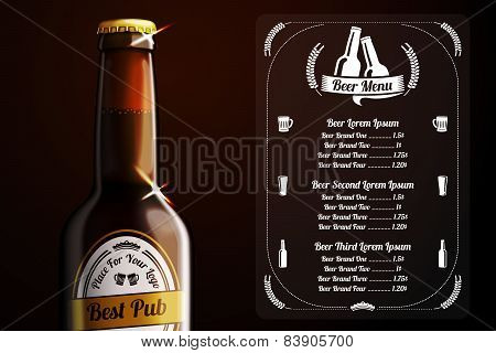 Menu template for beer and alcohol. vector.