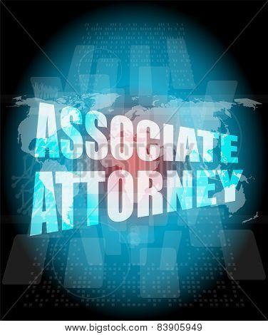 Associate Attorney Words On Digital Screen