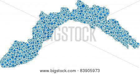 Blue Map of Liguria - Italy -