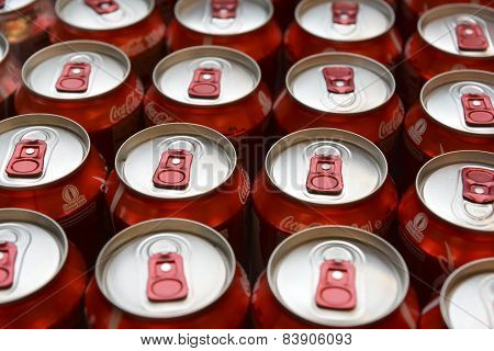 Cans of Coca Cola