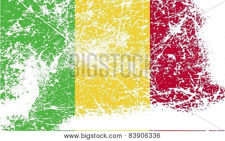 Flag Of Mali With Old Texture. Vector