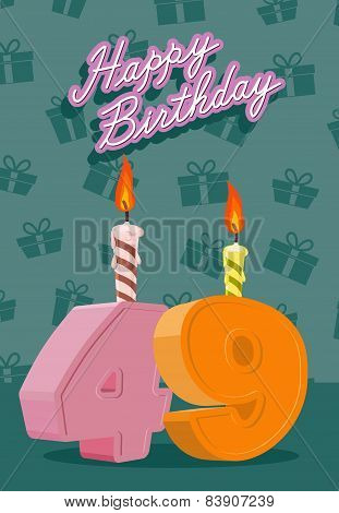 Birthday candle number 49 with flame