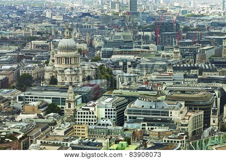 Aerial City of London panorama with St Pauls cathedral in view