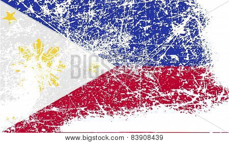 Flag Of Philippiines With Old Texture. Vector