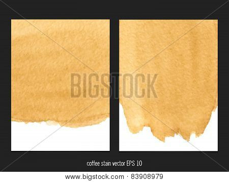 Vector Background With Coffee Stain Watercolor.