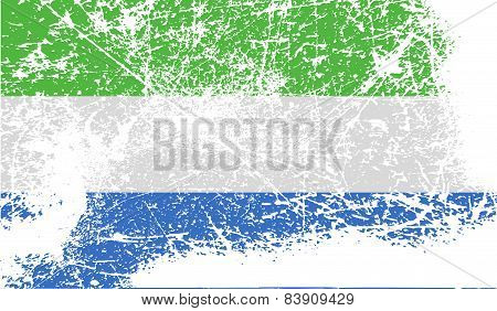 Flag Of Sierra Leone With Old Texture. Vector