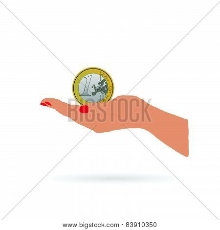 Woman Hand And Euro Coin Vector Illustration