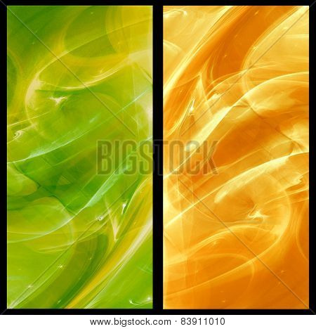 Two Abstract Fractal vertical backgrounds in green and orange