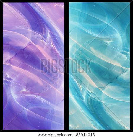 Two Abstract Fractal vertical backgrounds cosmic light in  ice blue and in lilac