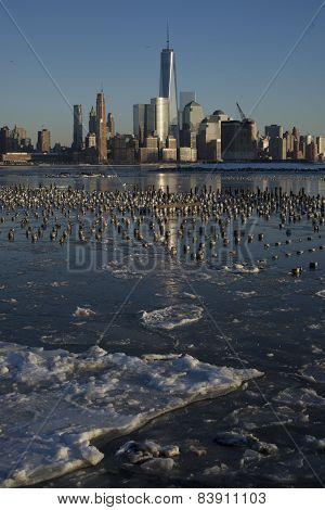 Manhattan skyline. Frozen Hudson river
