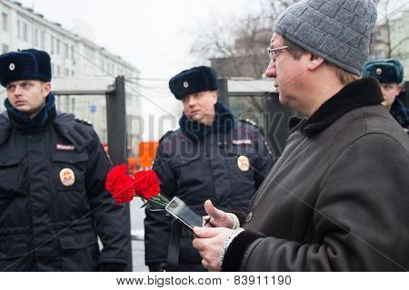 Participant Of Mourning March Of Memory Of Boris Nemtsov And Police
