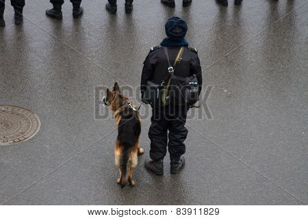 Russian Police And Dogs On Oppositional March