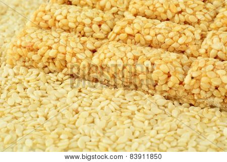 Background Of Snacks-sesame Seeds And Sesame Biscuit