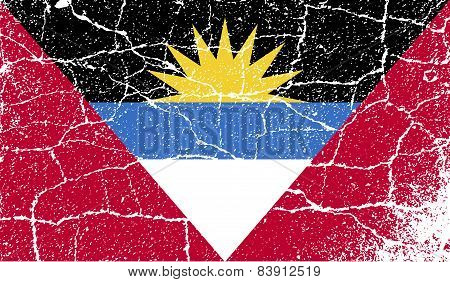Flag Of Antigua And Barbuda With Old Texture. Vector