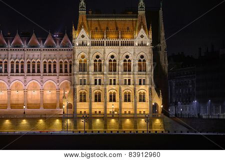 Night detail of the Parliament building