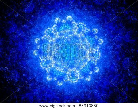 Blue Glowing Space Mandala