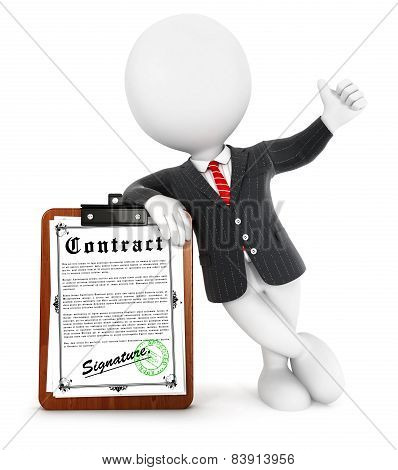 3d white people businessman contract