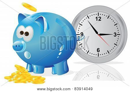 Time is money, concept, blue piggy bank,vector, illustration