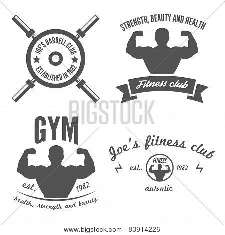 Set of vintage logo, badge, emblem or logotype elements for gym, fitness club or sport club