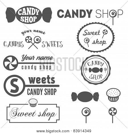 Collection of vintage logo and logotype elements for sweet shop and candy shop