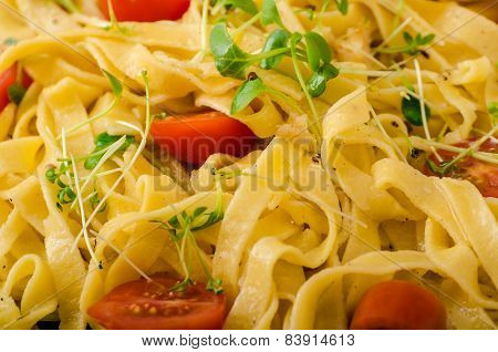 Semolina Pasta With Roasted Garlic, Sprinkled Microherbs