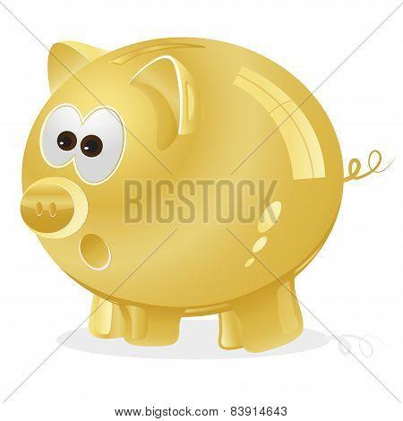 golden piggy bank for savings