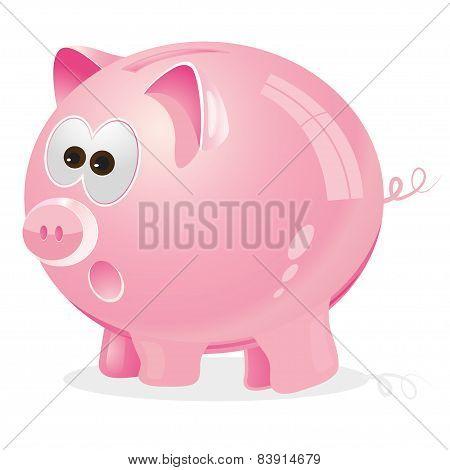 Piggy, Money box, pink, vector, illustration, save, concept