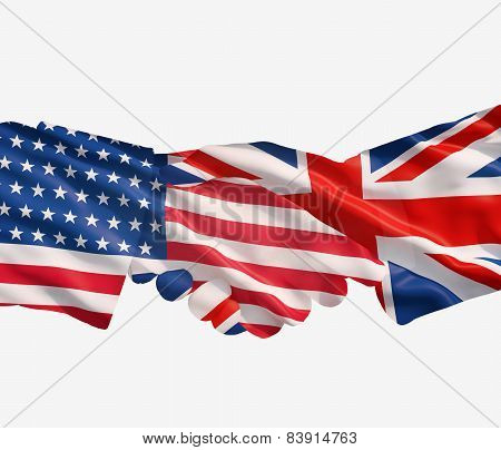 Uk And Us Flags With Handshake