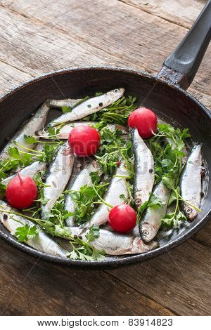 Smelt Fishes In Old Pan