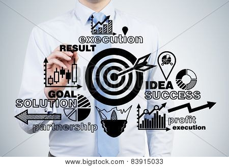 Businessman Drawing Success Strategy On