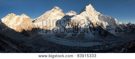 Evening View Of Everest From Pumo Ri Base Camp