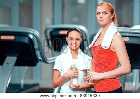 Mother and daughter at sports club