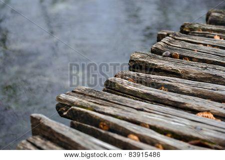 Closeup photo of wooden floor panels