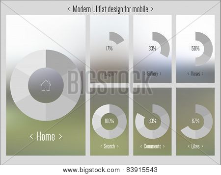 Moder UI flat design, blurred pattern vector