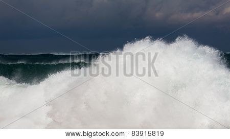 Frozen Motion Of Large Wave On Beach