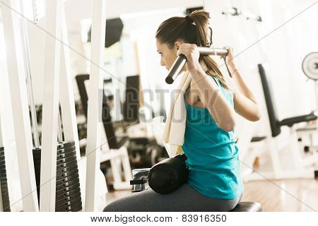 Attractive Woman Exercising At Gym