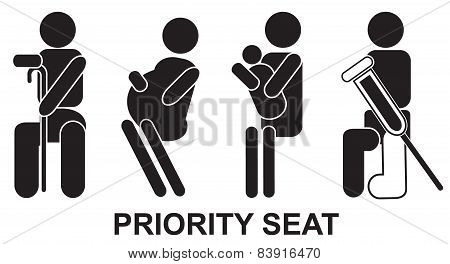 Priority seats, sign, vector, black, illustration, help