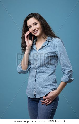 Cute Teenager On The Phone