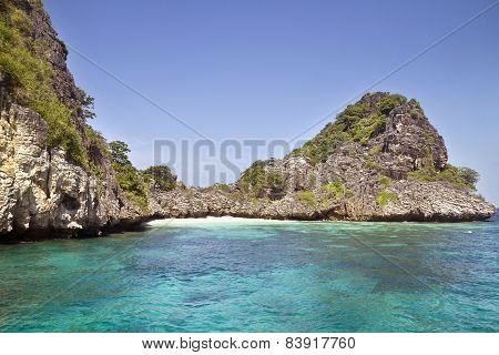 Tiny beach in the lagoon