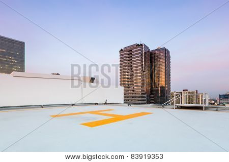 Helipad For Helicopter On Roof Top Building For People Transportation