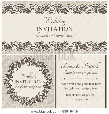 Baroque wedding invitation set, beige