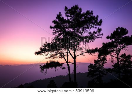 Beautiful twilight time nature background mountains and sky at huai nam dang national park Chiang mai Thailand.