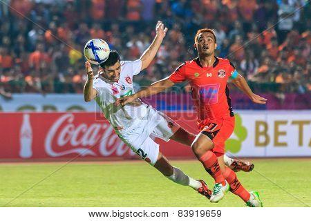Sisaket Thailand-february 18: Ivan Boskovic Of Bec Tero (white) In Action During Thai Premier League