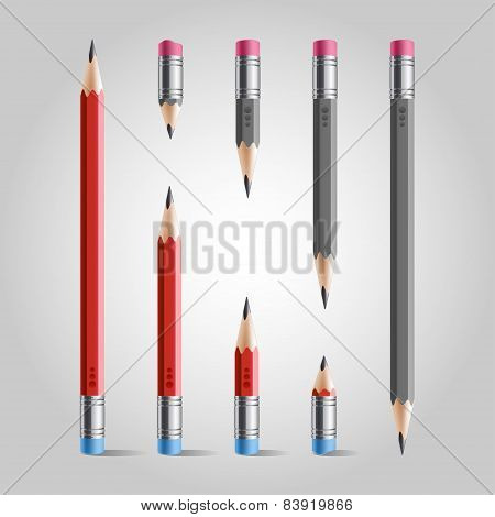 Short and long pencil set, red gray