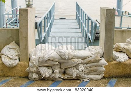 White Sandbags For Flood Defense