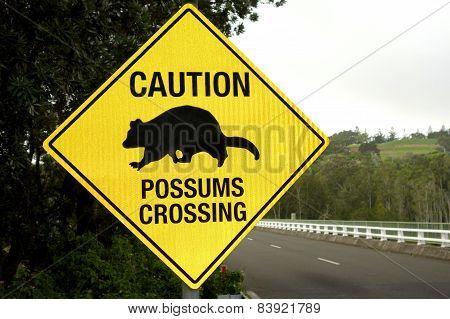 Caution Possums Sign