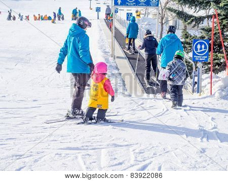 Kids learning to ski at Canada Olympic Park