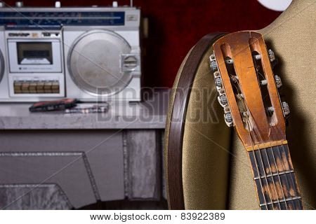 Grief Acoustic Guitar On The Background Of A Cassette Recorder