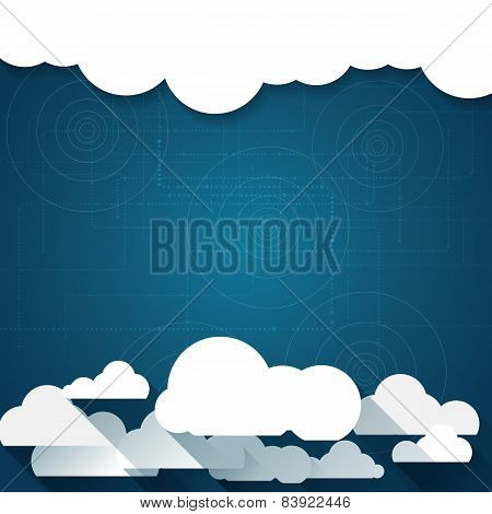 Vector Paper Clouds On A Blue Background